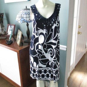 Crown & Ivy Belk NWT Navy White Bold Moves Dress S